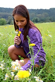 Gloria was out in the field picking flowers when a warm breeze brushed by under her dress and for a second Gloria imagined that it was a guys fingers rubbing against her tight wet pussy! The more she